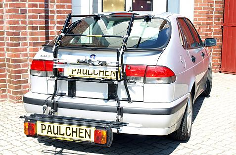 Saab 900 Schrägheck (YS3D) Bike carrier with comfort load extension in loading position. Without trailer hitch!