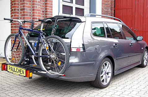 Saab 9-3 II Kombi (YS3F) Bike carrier with comfort load extension and loaded bike. Without trailer hitch!