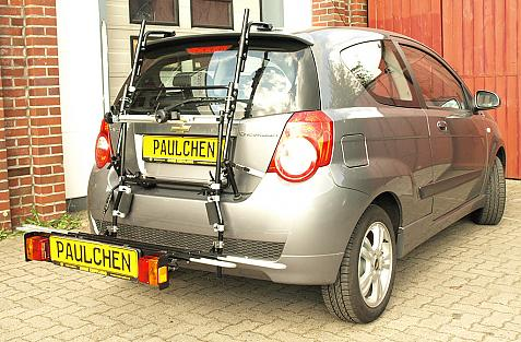 Chevrolet Aveo Bike carrier with comfort load extension in loading position. Without trailer hitch!