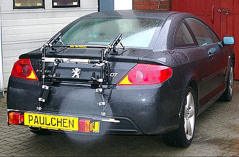 Peugeot 407 Coupé Bike carrier with comfort load extension in loading position. Without trailer hitch!