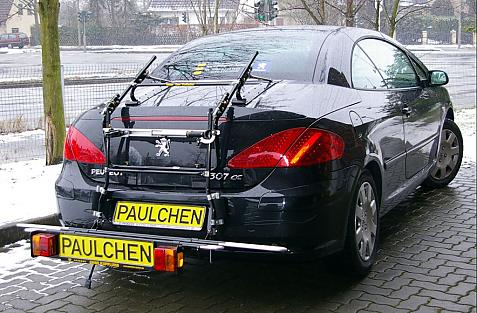 Peugeot 307 CC (Cabrio) Bike carrier with comfort load extension in loading position. Without trailer hitch!