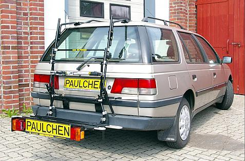 Peugeot 405 Break Bike carrier with comfort load extension in loading position. Without trailer hitch!