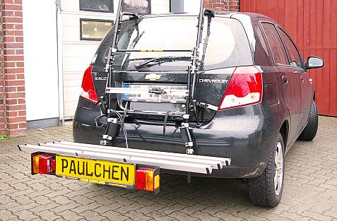 Chevrolet Kalos Bike carrier with comfort load extension in loading position. Without trailer hitch!