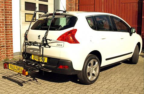 Peugeot 3008 Bike carrier with comfort load extension in loading position. Without trailer hitch!