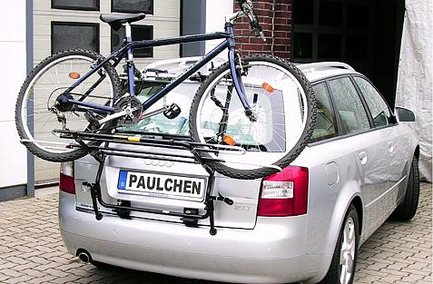 Audi A4 Avant Bike carrier loaded with bike