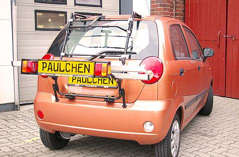 Chevrolet Matiz Bike carrier with light bar in loading position