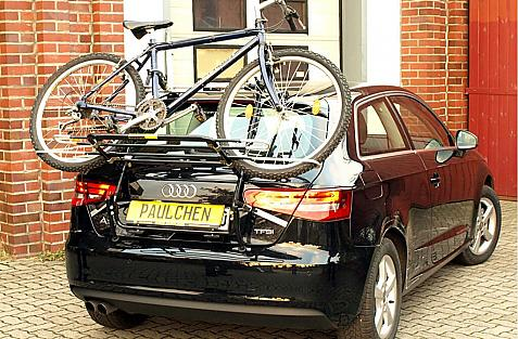 Audi A3 Bike carrier loaded with bike