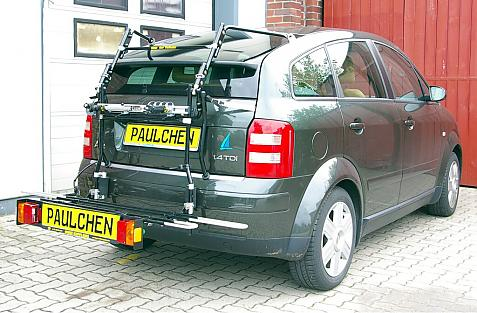 Audi A2 Bike carrier with comfort load extension in loading position. Without trailer hitch!