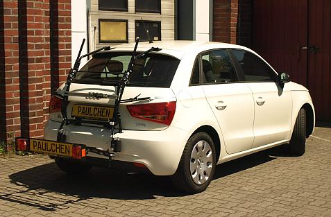 Audi A1 Sportback Bike carrier with comfort load extension in loading position. Without trailer hitch!