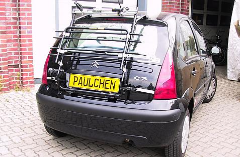 Citroen C3 Bike carrier in standby position