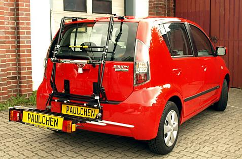 Daihatsu Sirion (M300) Bike carrier with comfort load extension in loading position. Without trailer hitch!