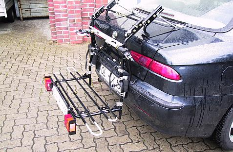 Alfa Romeo 156 Bike carrier with comfort load extension in loading position. Without trailer hitch!