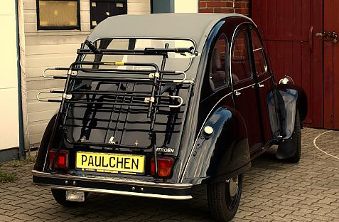 Citroen 2 CV Bike carrier in loading position
