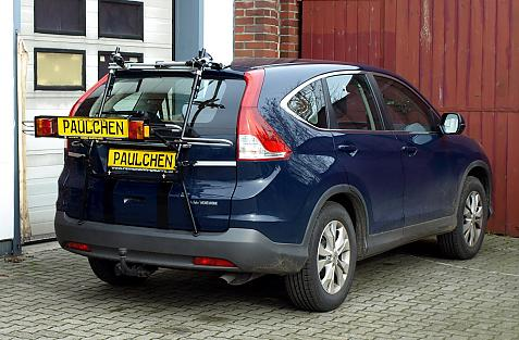 Honda CR-V IV (RE6) Bike carrier with light bar in loading position