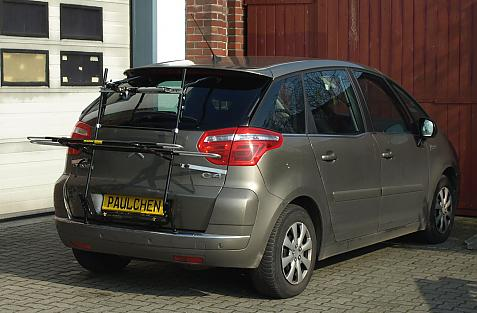 Citroen C4 Picasso Bike carrier in loading position
