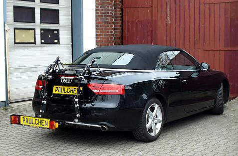 Audi A5 Cabrio Bike carrier with comfort load extension in loading position. Without trailer hitch!