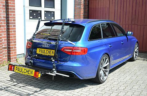 Audi RS4 Avant Bike carrier with comfort load extension in loading position. Without trailer hitch!