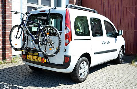 Renault Kangoo II Bike carrier with light bar and loaded with bike