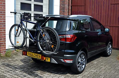 Ford Ecosport Bike carrier with comfort load extension and loaded bike. Without trailer hitch!