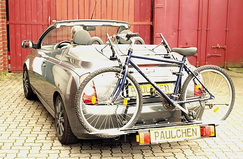 Nissan Micra Cabrio (K12) Bike carrier with comfort load extension and loaded bike. Without trailer hitch!