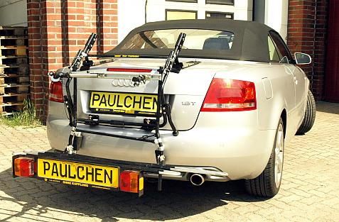 Audi A4 Cabrio Bike carrier with comfort load extension in loading position. Without trailer hitch!