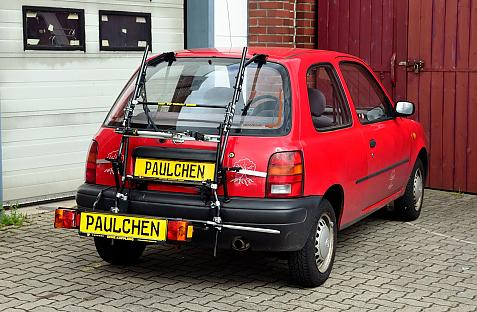Nissan Micra (K11) Bike carrier with comfort load extension in loading position. Without trailer hitch!