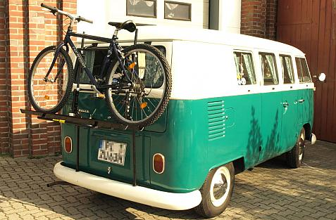 Volkswagen Bus T1/T2 Bike carrier loaded with bike