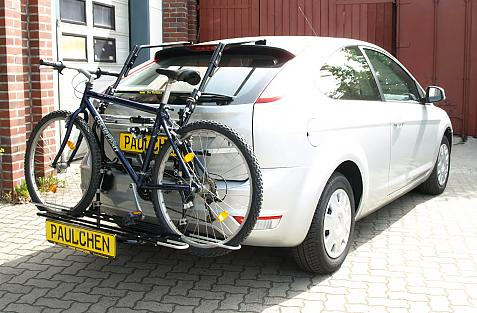 Ford Focus Facelift Bike carrier with comfort load extension and loaded bike. Without trailer hitch!