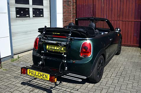 Mini Mini Cabrio (F57) Bike carrier with comfort load extension in loading position. Without trailer hitch!