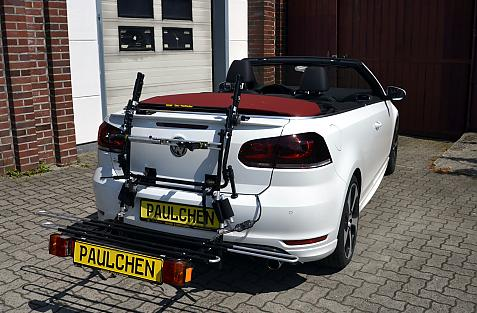 Volkswagen Golf VI Cabrio (517) Bike carrier with comfort load extension in loading position. Without trailer hitch!