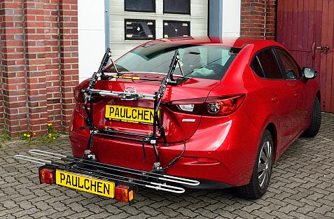 Mazda 3 Stufenheck (BM) Bike carrier with comfort load extension in loading position. Without trailer hitch!
