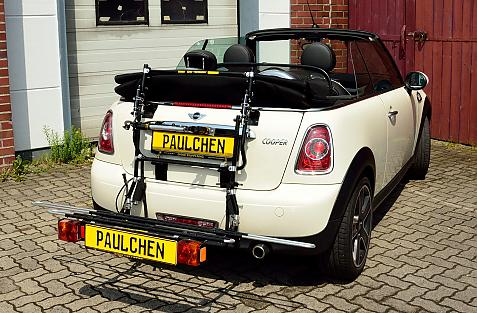Mini Mini Cabrio (R57) Bike carrier with comfort load extension in loading position. Without trailer hitch!