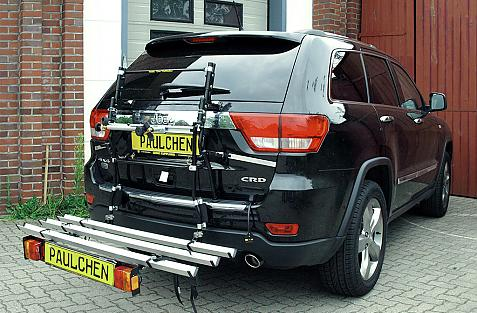 Chrysler Jeep Grand Cherokee (WK) Bike carrier with comfort load extension in loading position. Without trailer hitch!