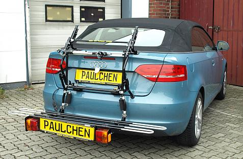 Audi A3 Cabrio (8P) Bike carrier with comfort load extension in loading position. Without trailer hitch!