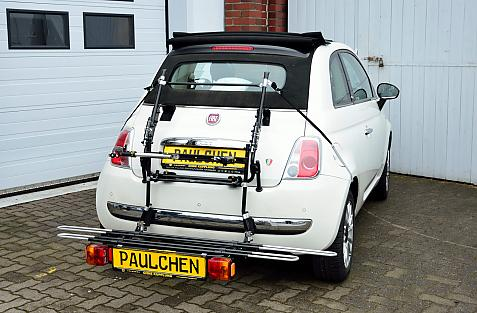 Fiat 500 Cabrio (312) Bike carrier with comfort load extension in loading position. Without trailer hitch!