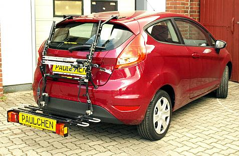 Ford Fiesta VI Bike carrier with comfort load extension in loading position. Without trailer hitch!