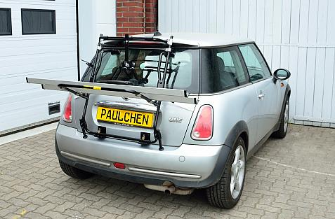 Mini One (R56) Bike carrier in loading position