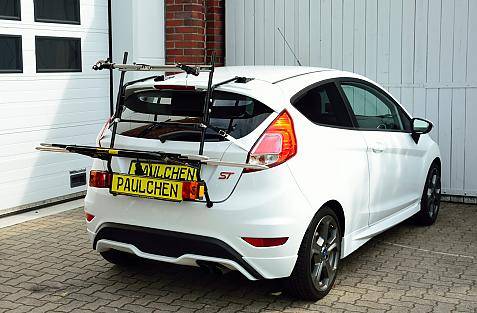 Ford Fiesta VI ST Bike carrier with light bar in loading position
