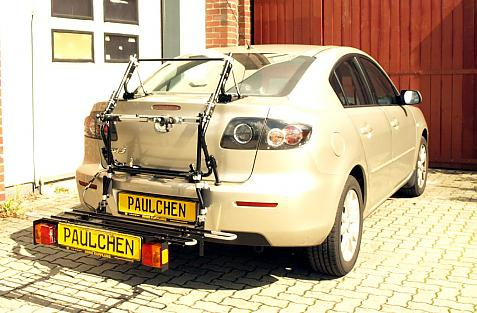Mazda 3 Stufenheck (BK) Bike carrier with comfort load extension in loading position. Without trailer hitch!