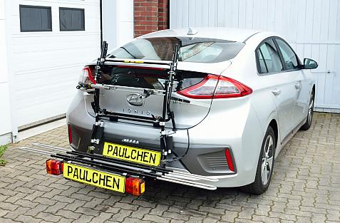Hyundai Ioniq Bike carrier with comfort load expansion in loading position. Without trailer hitch!