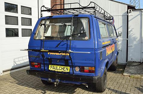 Volkswagen Bus T3 Bike carrier in loading position
