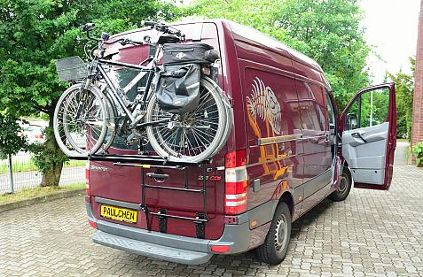 Mercedes Sprinter H2 (906) Bike carrier loaded with bike