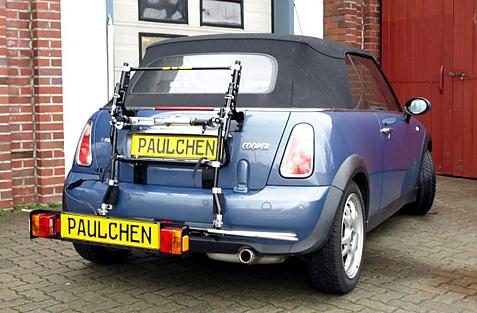 Mini Mini Cabrio (R52) Bike carrier with comfort load extension in loading position. Without trailer hitch!