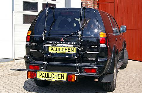 Mitsubishi Pajero Sport Bike carrier with comfort load extension in loading position. Without trailer hitch!