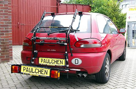 Mitsubishi Colt Bike carrier with comfort load extension in loading position. Without trailer hitch!