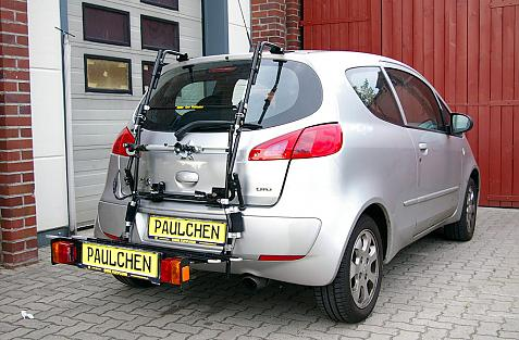 Mitsubishi Colt CZ 3 Bike carrier with comfort load extension in loading position. Without trailer hitch!