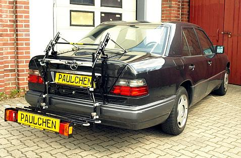Mercedes E-Klasse 'E-Modell' (W124) Bike carrier with comfort load extension in loading position. Without trailer hitch!
