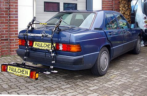 Mercedes 190 (W201) Bike carrier with comfort load extension in loading position. Without trailer hitch!