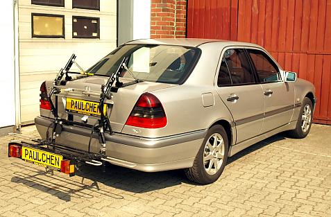 Mercedes C-Klasse (W202) Bike carrier with comfort load extension in loading position. Without trailer hitch!