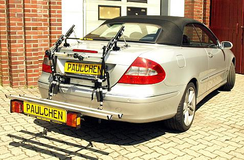 Mercedes CLK-Klasse Cabrio (A209) Bike carrier with comfort load extension in loading position. Without trailer hitch!